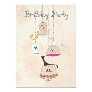 Cats birdcages butterflies birthday Invites