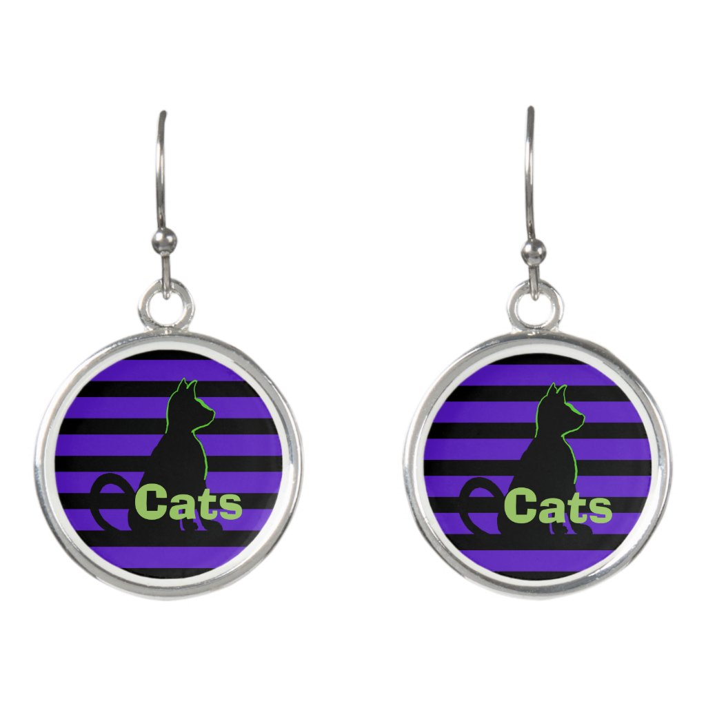 Cats Black Cat Pop Art Street Style CricketDiane Earrings