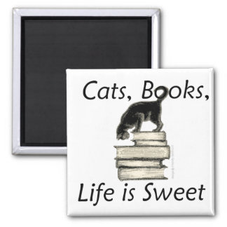 Cats Books Life is Sweet 2 Inch Square Magnet