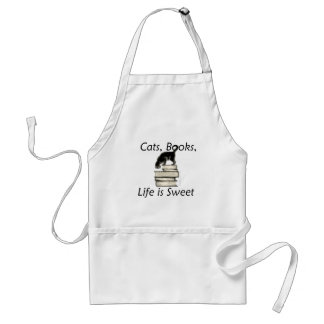 Cats, Books, Life is sweet Apron