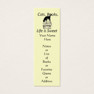 Cats Books Life Is Sweet Bookmark to Customize Mini Business Card