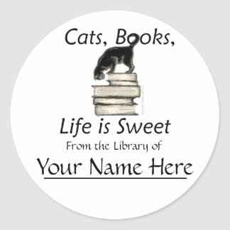 Cats, Books, Life is sweet Bookplates Classic Round Sticker