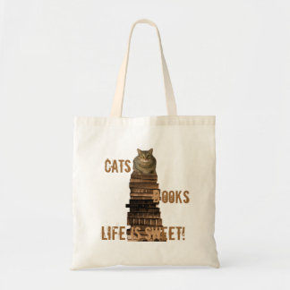 Cats books life is sweet - brown tote bag