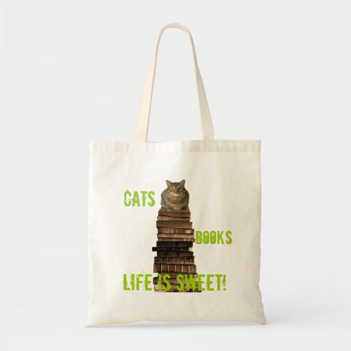 Cats books life is sweet budget tote bag
