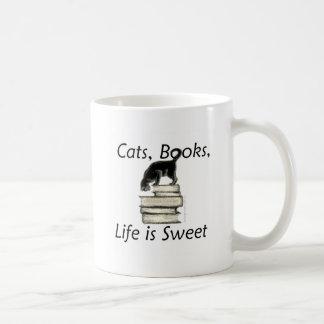 Cats Books Life is Sweet Classic White Coffee Mug