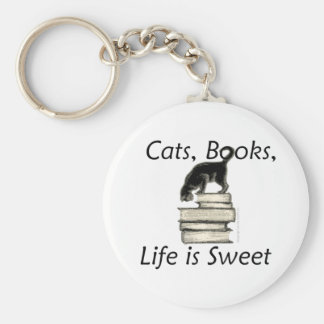 Cats Books Life is Sweet Keychain