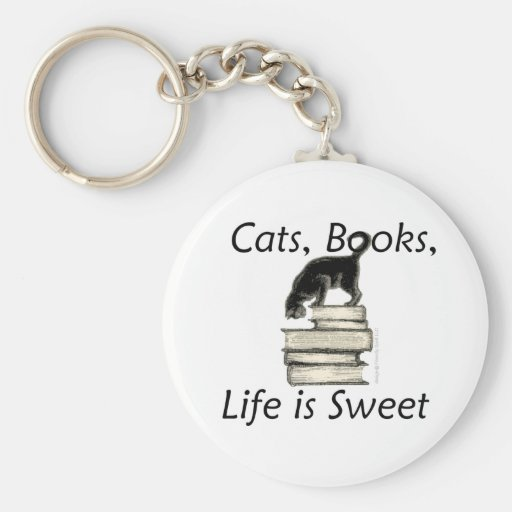 Cats Books Life is Sweet Basic Round Button Keychain