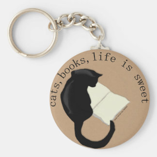 Cats, Books, Life is sweet Keychain v2