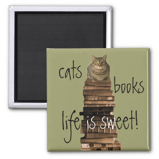 cats, books, life is sweet! refrigerator magnets