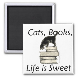 cats, books, life is sweet! magnet