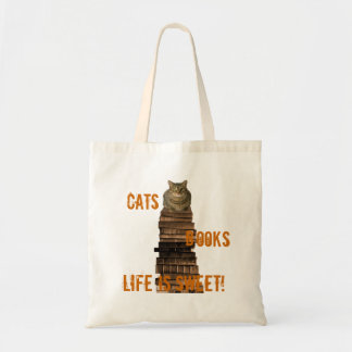 Cats books life is sweet - orange/brown tote bag