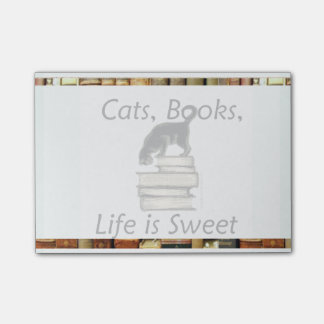 Cats, Books, Life is Sweet Post-it® Note