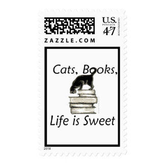 Cats, Books, Life is sweet postage stamps