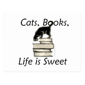 Cats, Books, Life is sweet Postcard