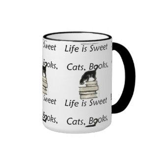 Cats Books Life is Sweet Ringer Mug