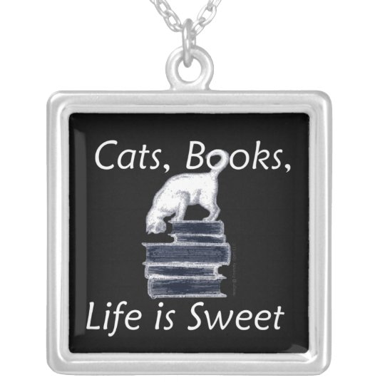 Cats Books Life is Sweet Silver Plated Necklace