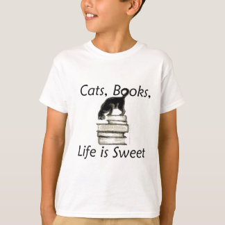 Cats Books Life is Sweet T-Shirt