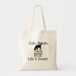 Cats Books Life is Sweet Tote Bag