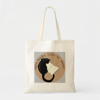 Cats Books Life is sweet v2 Canvas Bags