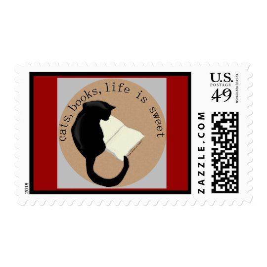 Cats, Books, Life is sweet version 2 Postage