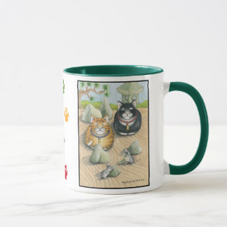 Cats Bud & Tony Meditation Mug Green