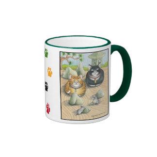 Cats Bud & Tony Meditation Mug Green
