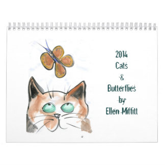 Cats & Butterflies 2014 Calendar by Ellen Miffitt