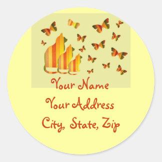 Cats & Butterflies Address Labels Classic Round Sticker