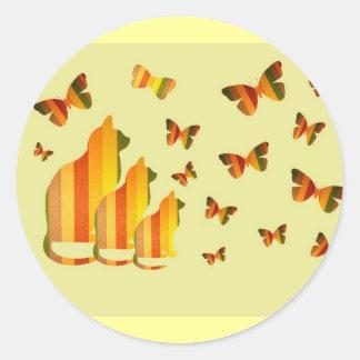 Cats & Butterflies Classic Round Sticker