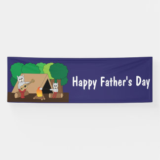 Cats Camping Fathers Day Banner