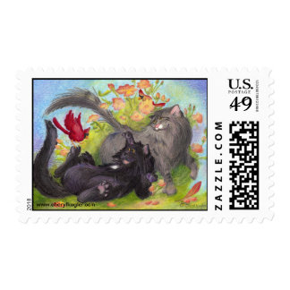 Cats, Cardinals and Roses / Postage Stamps