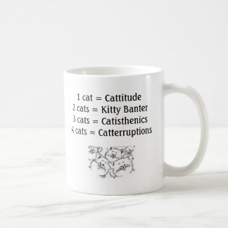 Cats_-_Cartoon_2, 1 cat = Cattitude 2 cats = Ki... Coffee Mug
