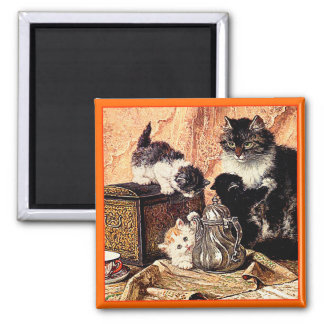 Cats - Cat Painting - by Ronner-Knip 2 Inch Square Magnet