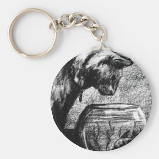 Cats Cat Staring in Fishbowl Charcoal Drawing Keychain