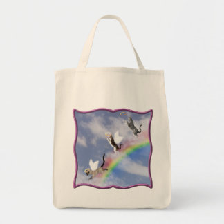 Cats Catching Halos Purple Frame Tote Bag