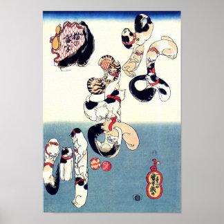 Cats & Catfish Kuniyoshi Fine Japanese Art Poster