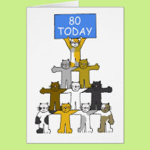 Cats celebrating 80th Birthday. Card