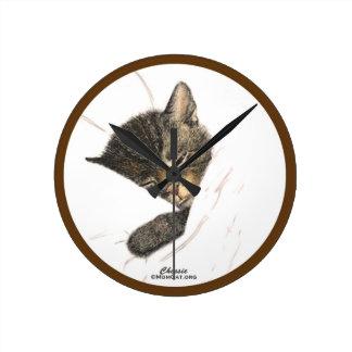Cats: Chessie Sleeping Kitten: Home: Clocks