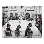 Cats Christmas Catastrophe by Louis Wain Poster