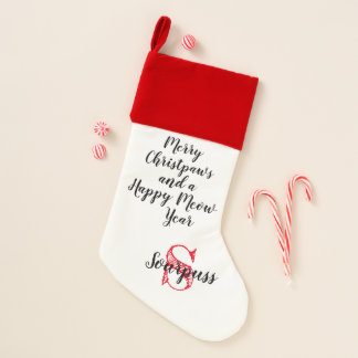 Cat's Christmas Stocking Merry Christpaws & Name -