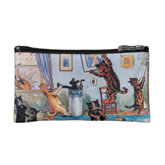 Cats Cleaning - Funny Vintage Art by Louis Wain Makeup Bag