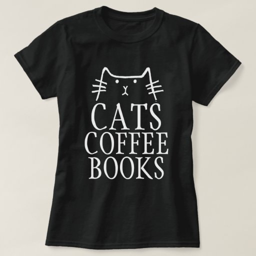 CATS COFFEE BOOKS Cat T-shirts