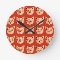 cats cool patterning round clock