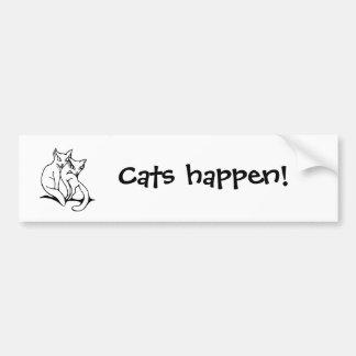 Cats couple in love original drawing bumper sticker