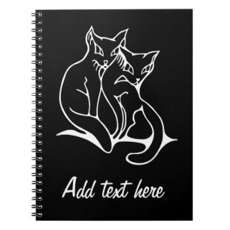 Cats couple in love original drawing inverted note book