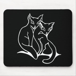 Cats couple in love original drawing mouse pad