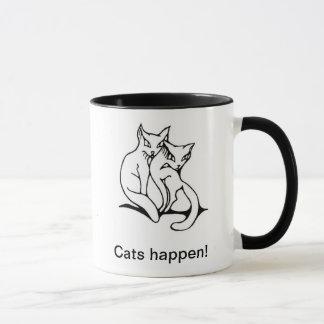Cats couple in love original drawing mug