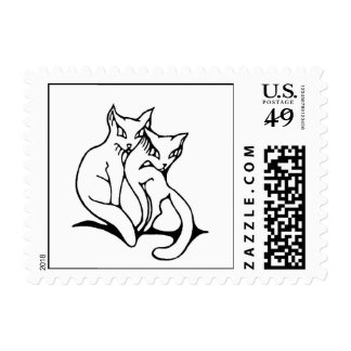 Cats couple in love original drawing postage