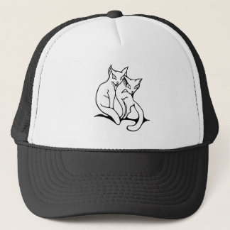 Cats couple in love original drawing trucker hat