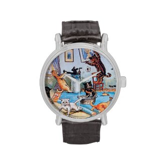 Cats Create Chaos - Spring Cleaning by Louis Wain Wristwatch